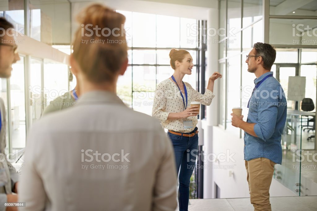 Connecting as colleagues stock photo