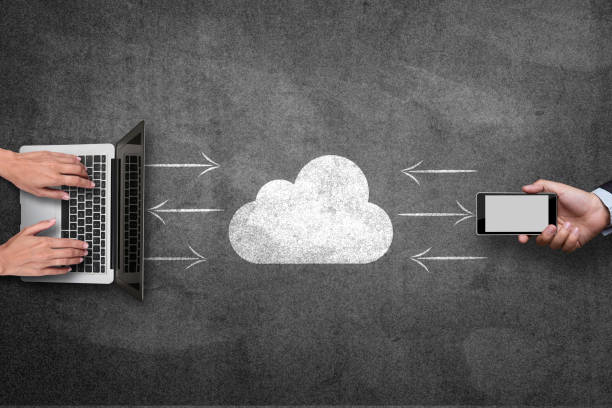 Connecting cloud on blackboard stock photo