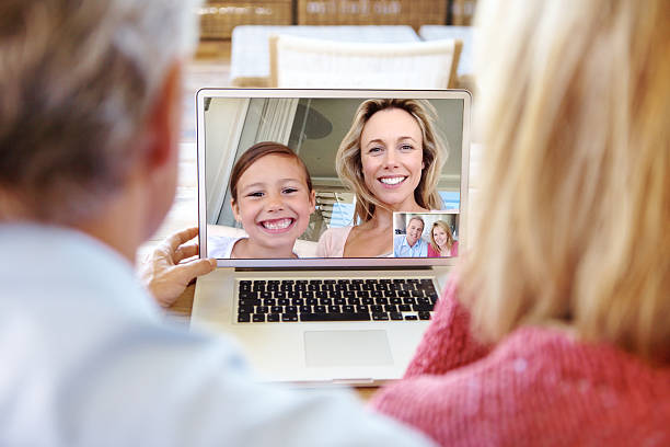 Connecting despite the distance Senior couple enjoying a video call with their daughter and granddaughterhttp://195.154.178.81/DATA/i_collage/pu/shoots/784498.jpg despite stock pictures, royalty-free photos & images