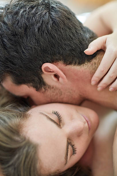 connecting on an intimate level - kissing on neck stock photos and pictures