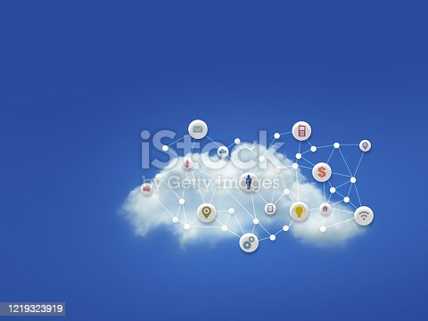 White Cloud with many computer symbol icons and White Dots with Lines Connecting on Bright Blue Sky Background, Every Things are on the Cloud Computer System Concept