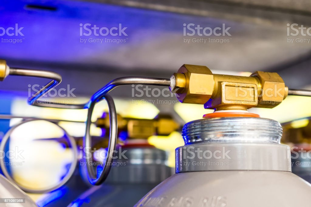 Connecting pipelines of the gas system for nitrogen cylinders stock photo