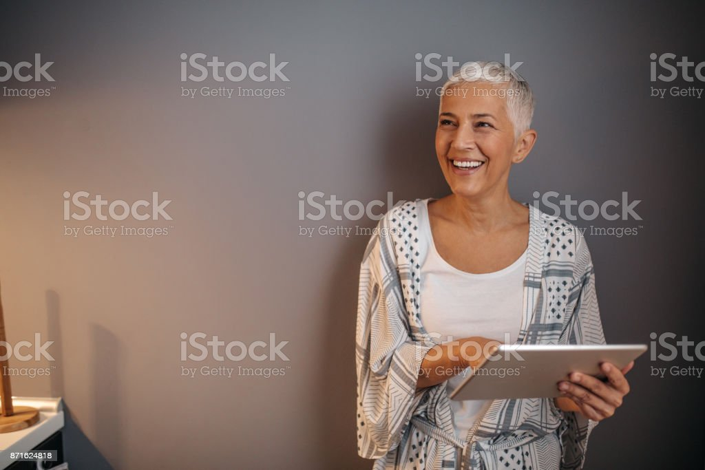 Connecting with her old friends stock photo