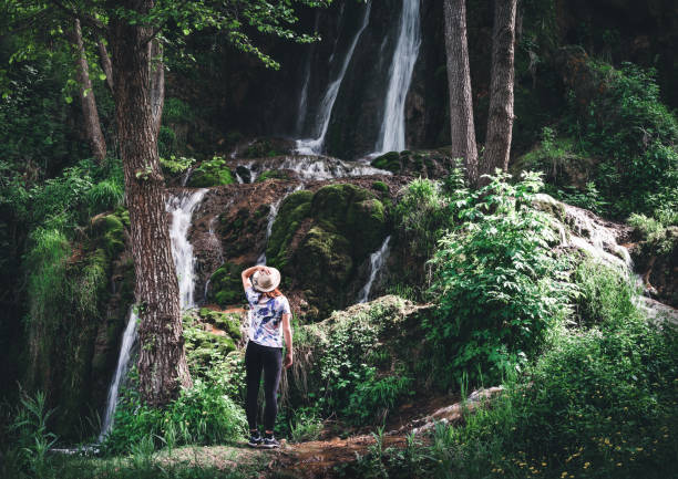 connecting with nature - forest bathing foto e immagini stock