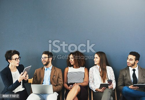 858111468 istock photo Connecting with the other candidates 858111612