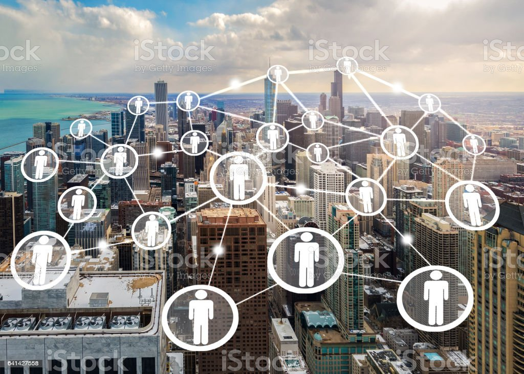 connection concept by people icon on chicago city stock photo
