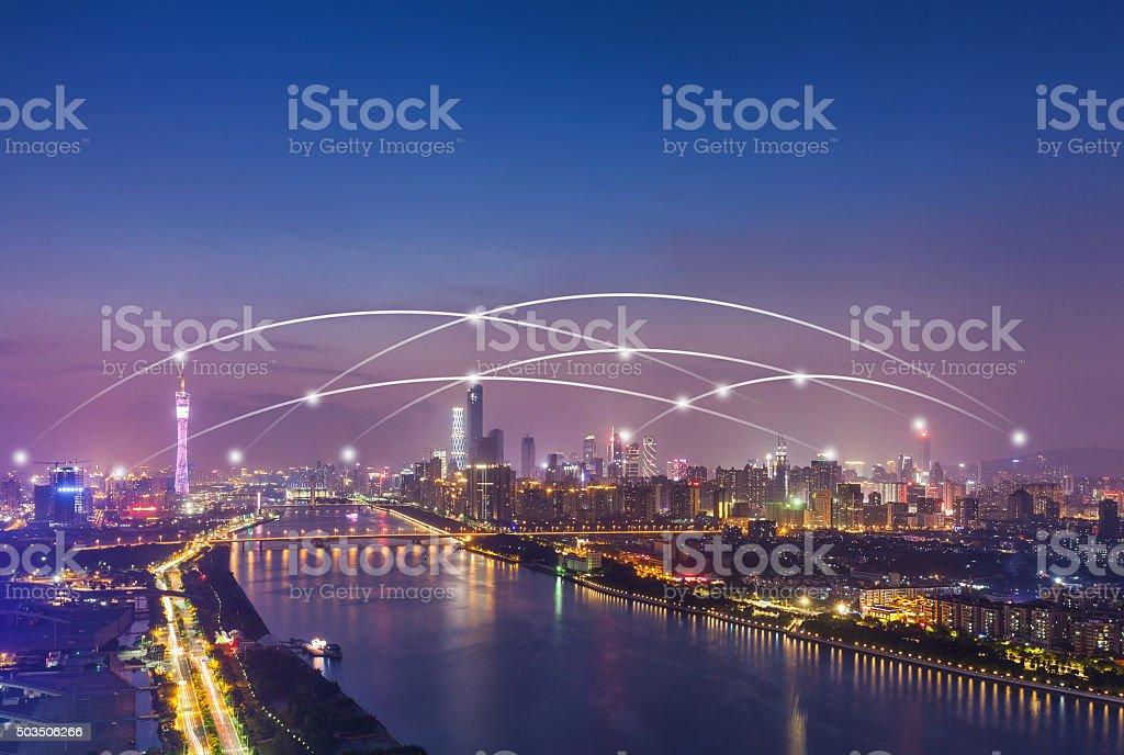 Verbindung im Hauptgeschäftsviertel von Guangzhou – Foto