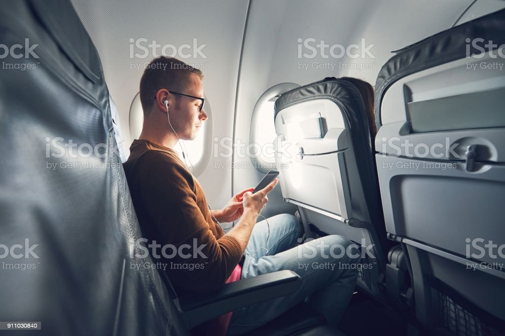 Connection in the airplane stock photo