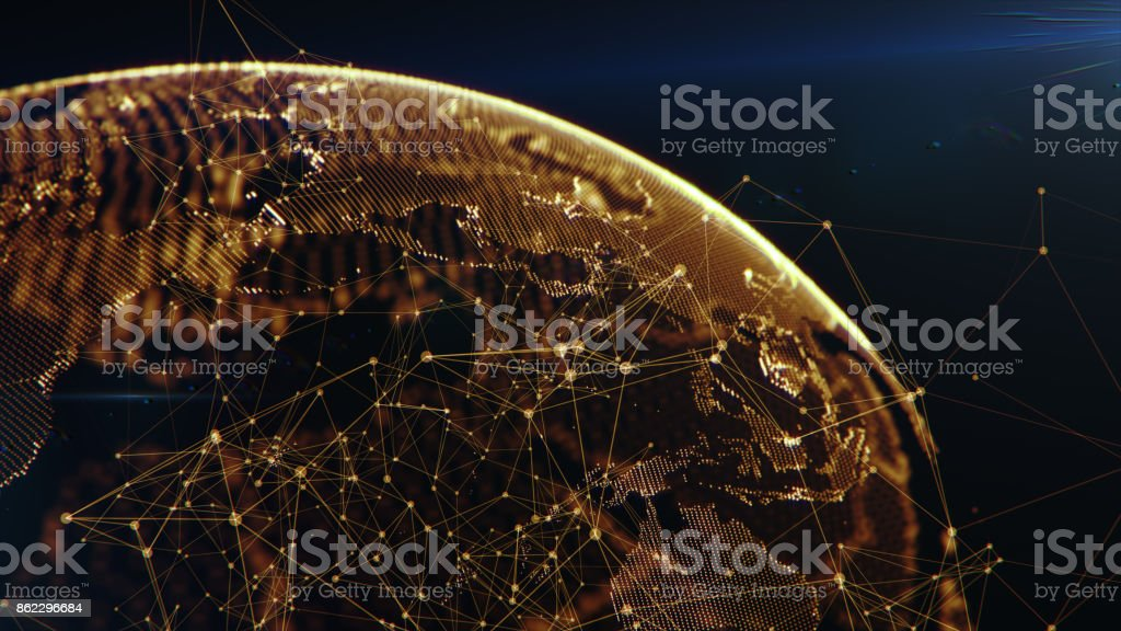 Connection lines Around Earth Globe stock photo