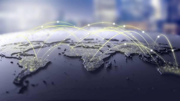 Anschlussleitungen auf Karte, futuristische Technologie-Design-Hintergrund – Foto