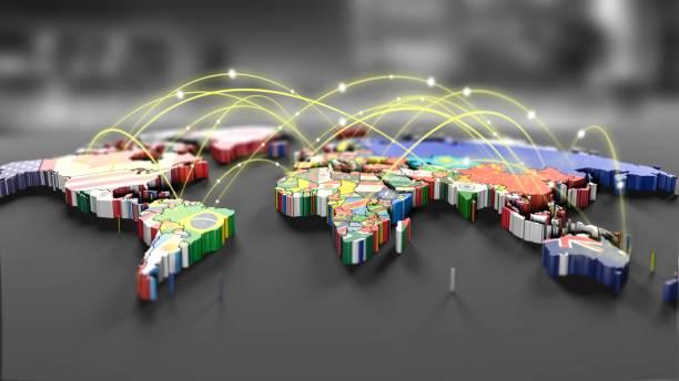 Anschlussleitungen auf Karte mit alle Länderflaggen – Foto
