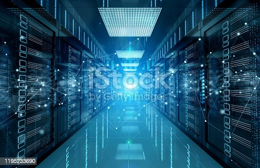 istock Connection network in dark servers data center room storage systems 3D rendering 1195233690