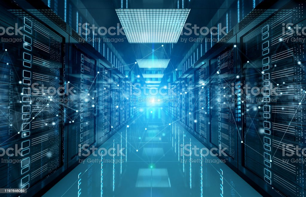 Connection network in dark servers data center room storage systems 3D rendering - Стоковые фото Безопасность роялти-фри
