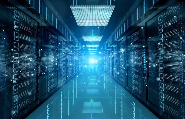 sieć połączeń w ciemnych serwerach systemy przechowywania w centrum danych 3d renderowania - sieć komputerowa zdjęcia i obrazy z banku zdjęć