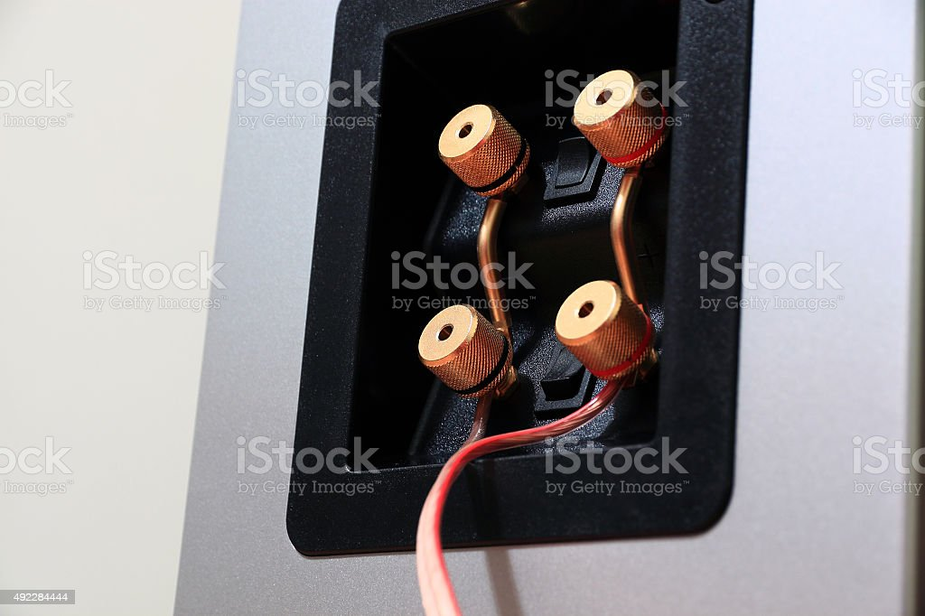 Connection panel with optional bi-wiring stock photo
