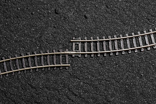 connection problem wrong assembled rail road tracks mistake stock pictures, royalty-free photos & images
