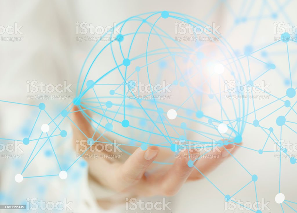 Connection sphere hologram and lines stock photo