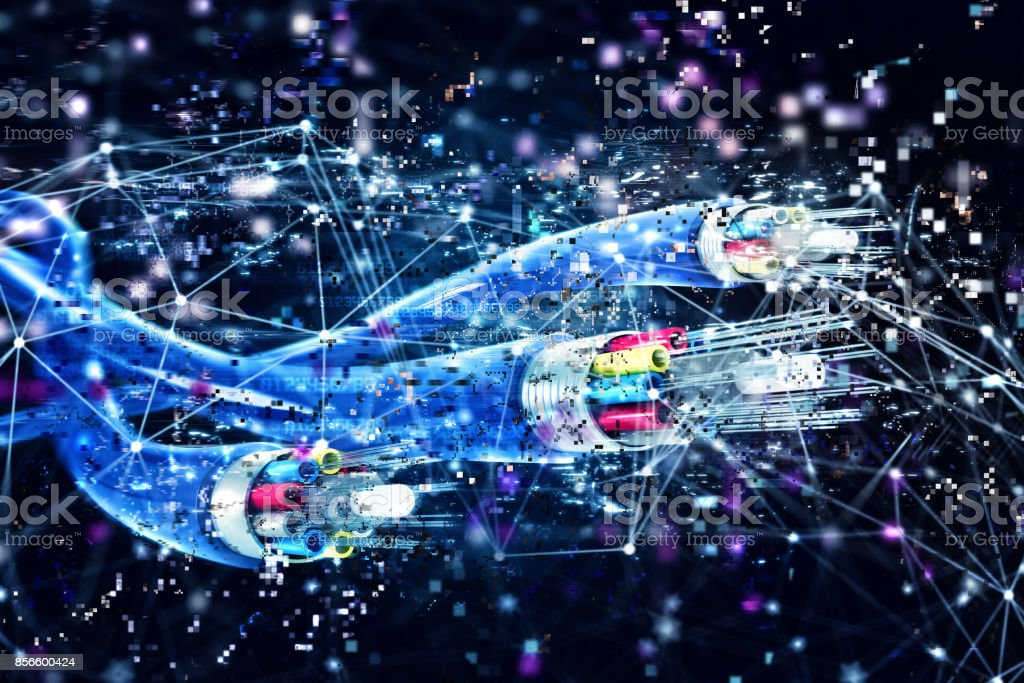 Connection with the optical fiber. Concept of fast internet. 3d render stock photo