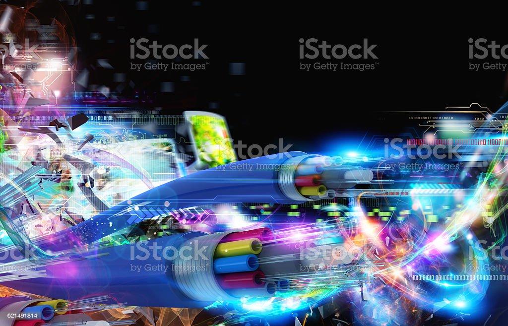 Connessione con la fibra ottica foto stock royalty-free