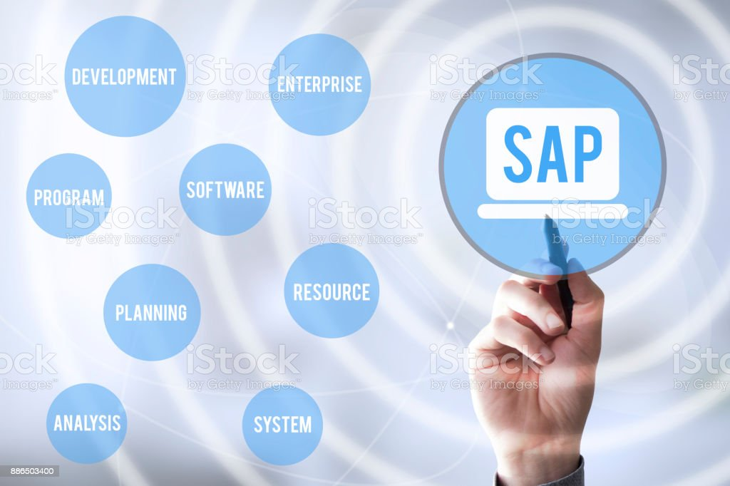connections pen touch SAP royalty-free stock photo