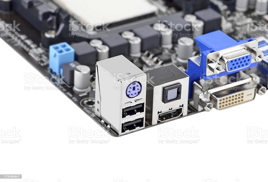 Connector of computer motherboard board royalty-free stock photo