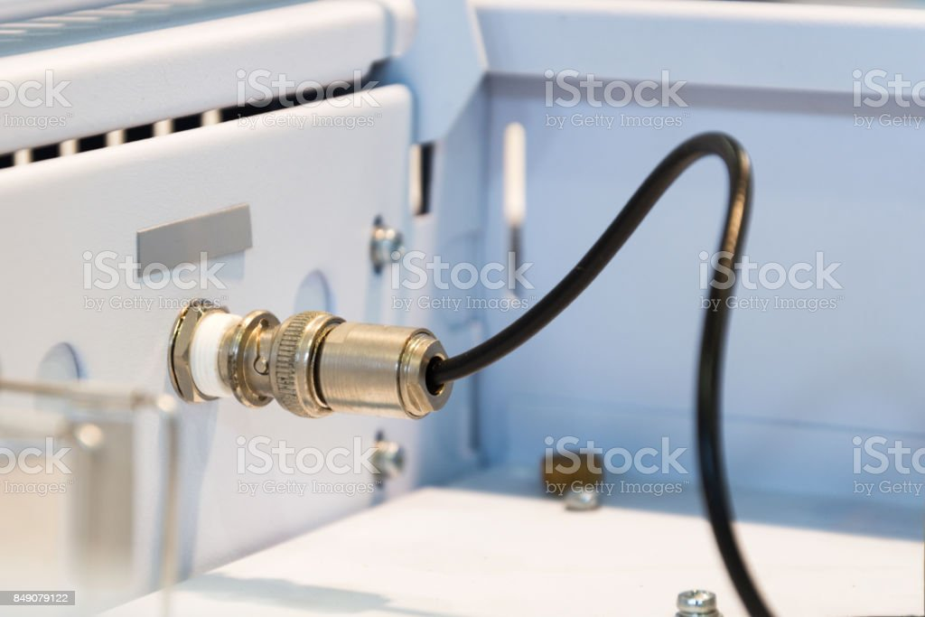 Connector of high-frequency cable stock photo