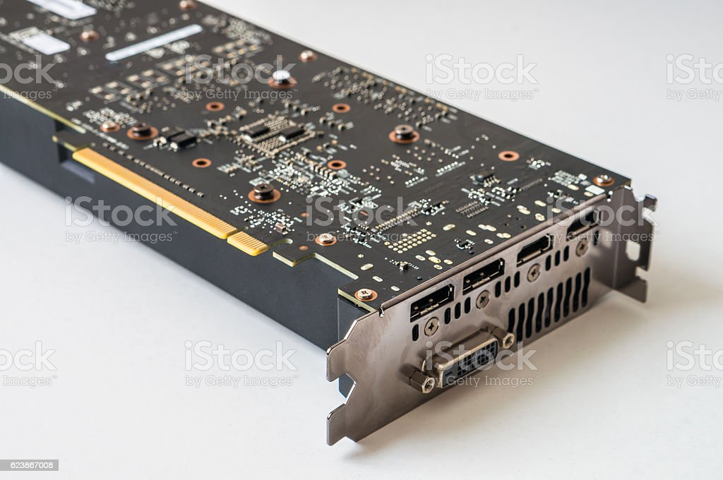 Connectors and ports of modern PCI computer videocard. stock photo