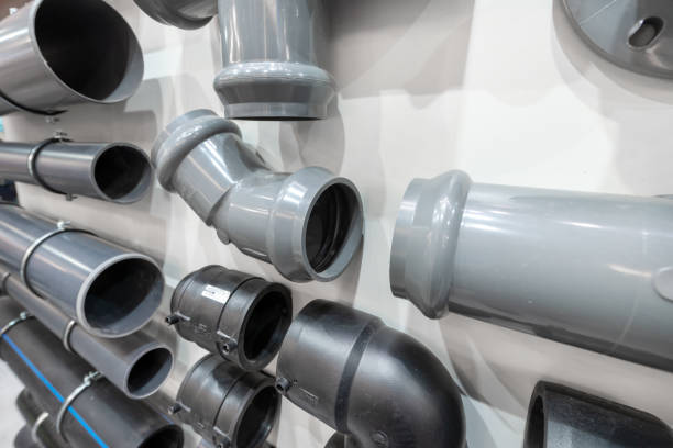 Connectors for plastic sewer pipe stock photo
