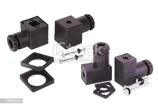 Connectors for solenoid valve and water meter. Spare parts for professional coffee machines. Isolated. Barista equipment