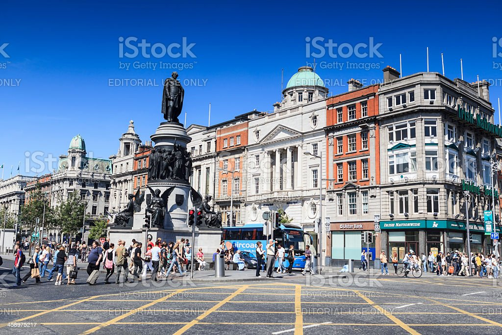 O'Connell and Eden Quay intersection in Dublin stock photo