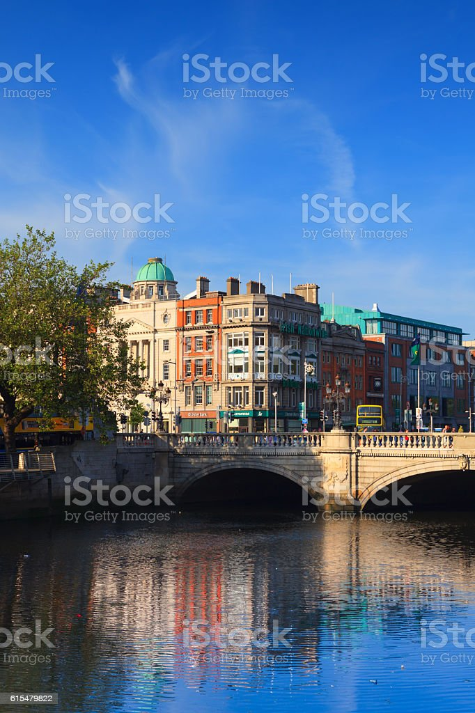 O'Connell bridge in Dublin stock photo