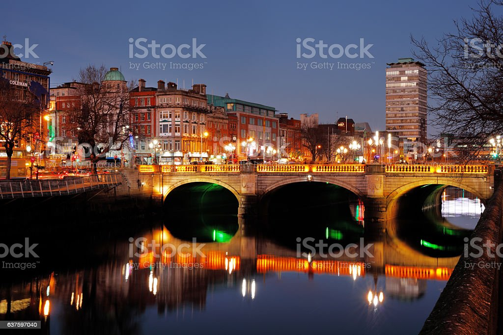 O'Connell Bridge on the river Liffey in Dublin, Ireland stock photo