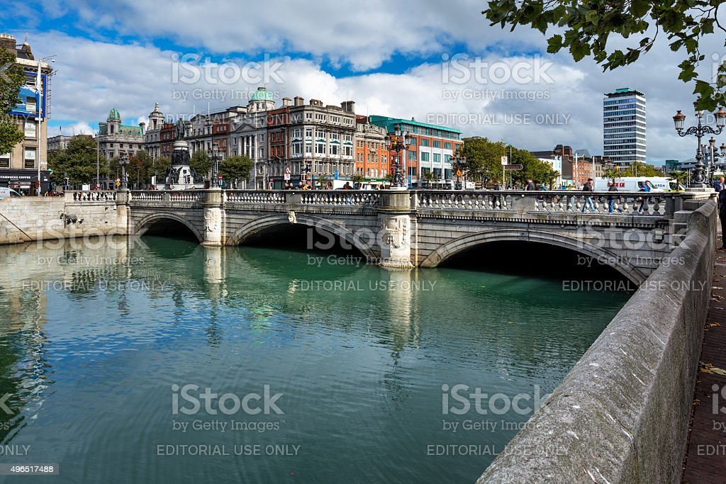O'Connell Bridge over the river Liffey in Dublin City Centre stock photo