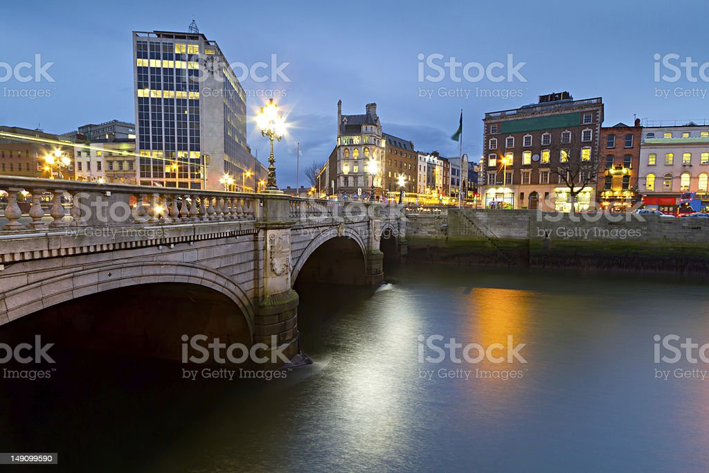 O'Connell street bridge in Dublin at night royalty-free stock photo