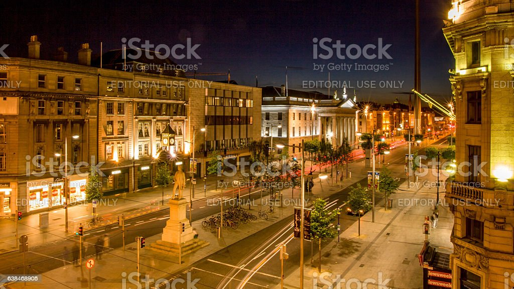 O`Connell Street by night. Dublin historic places. Ireland stock photo