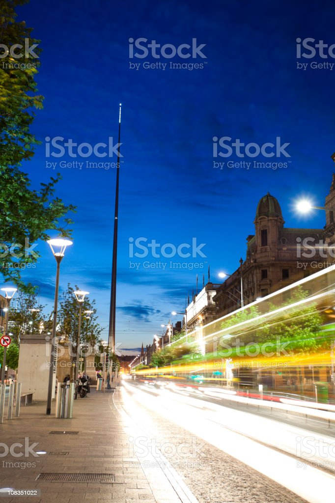 O'Connell Street by night stock photo