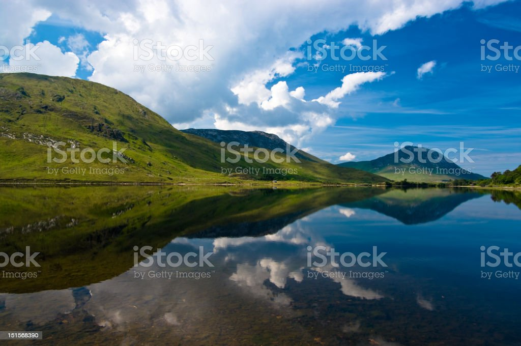 Connemara lake mirror stock photo