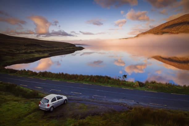 Connemara road early in the morning. Travel Destinations in Ireland stock photo