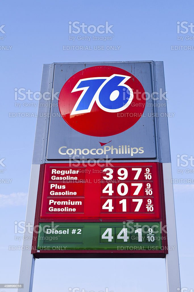 Conoco Phillips 76 Gas Station Fuel Prices Sign stock photo