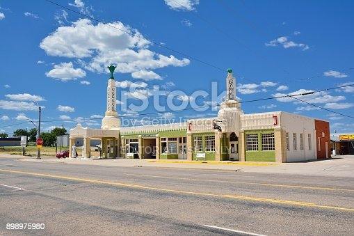 Shamrock, Texas - July 20, 2017: Art deco U-Drop Inn Conoco Station (Tower Station) on Route 66. Appeared in the animated movie