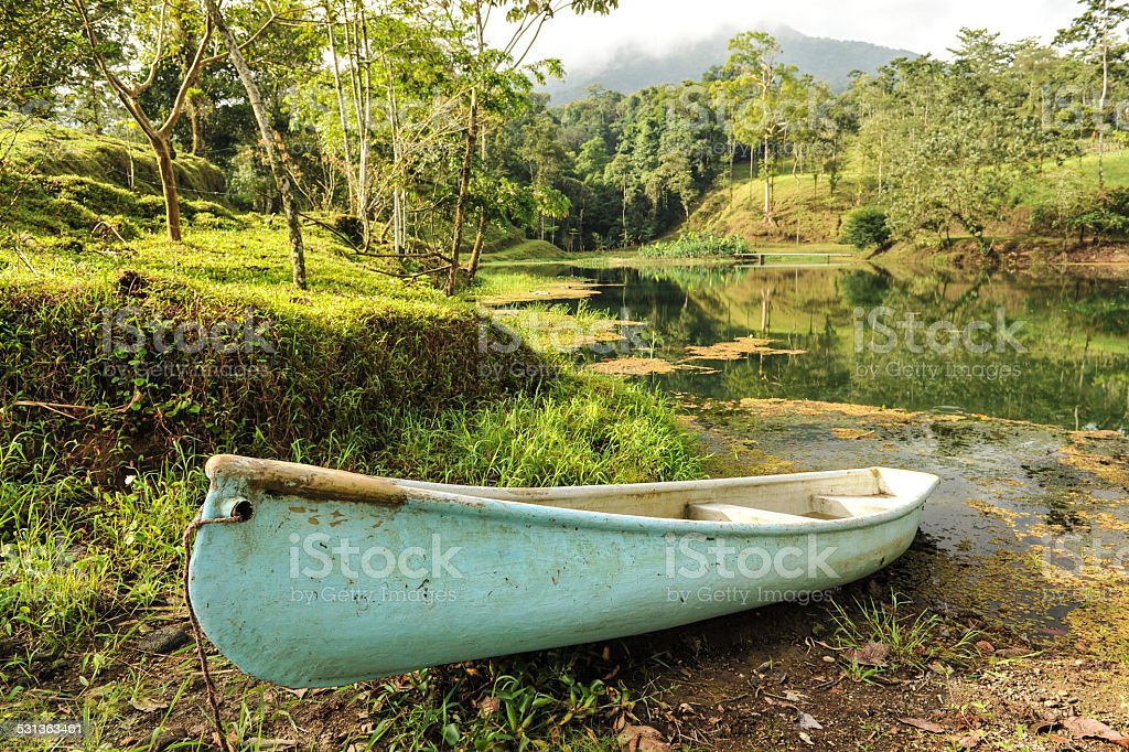Conoe boat sits next to tropical pond stock photo