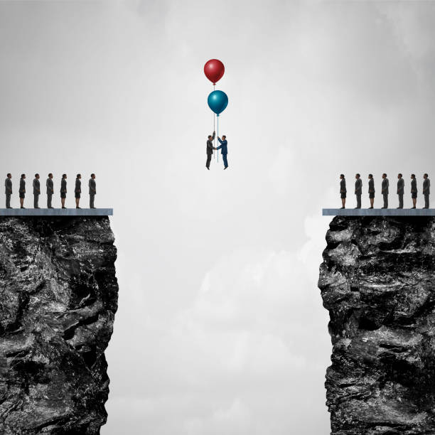 Conquering Adversity Conquering adversity creating a bridge to business partnership concept as a group of people on one cliff making an agreement with another using air balloons as a metaphor for bridging the gap for success with 3D illustration elements. diplomacy stock pictures, royalty-free photos & images