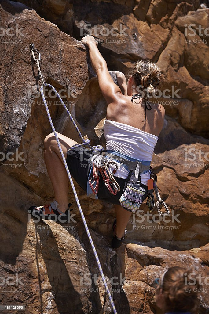 Conquering the mountain royalty-free stock photo