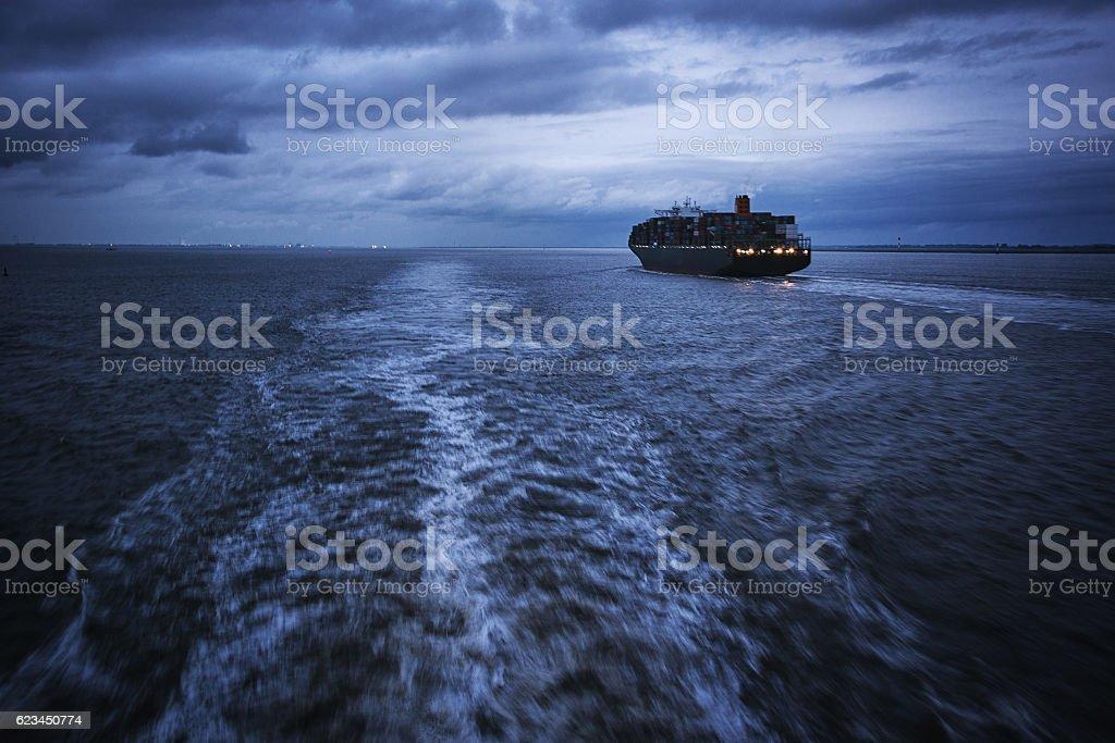 Conrainer vessel on ocean stock photo