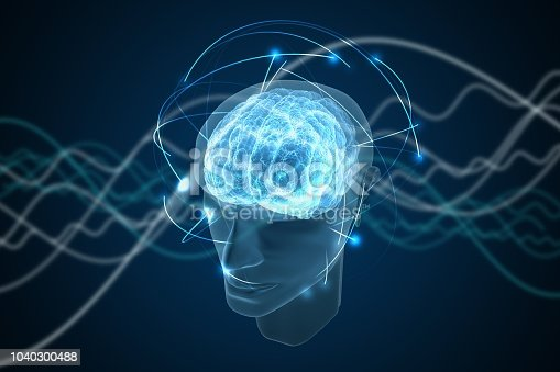 1071338130istockphoto Consciousness, metaphysics or artificial intelligence concept. Waves go through human head. 3D rendered illustration. 1040300488