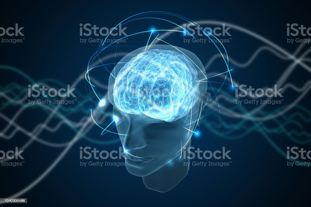 Consciousness, metaphysics or artificial intelligence concept. Waves go through human head. 3D rendered illustration. stock photo