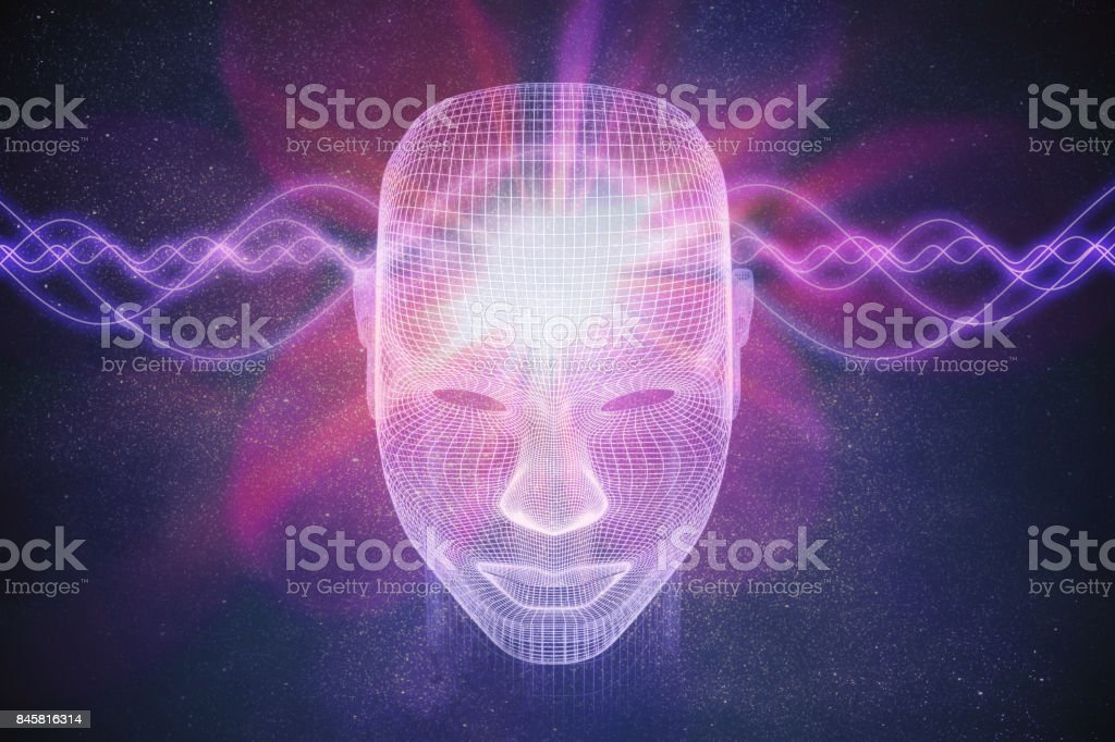 Consciousness, metaphysics or artificial intelligence concept. Waves go through human head. 3D rendered illustration. royalty-free stock photo