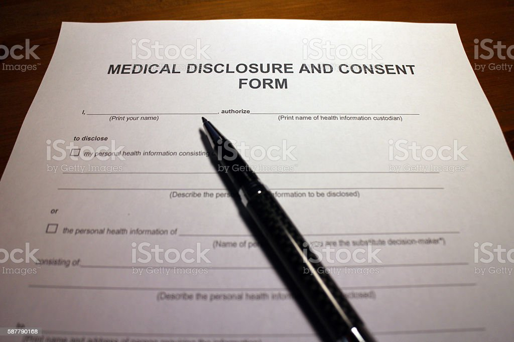 Consent for Medical Disclosure stock photo