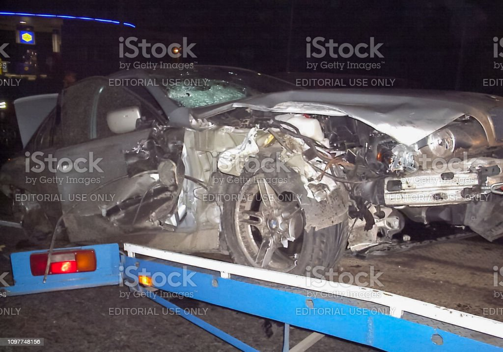 Consequences of a car accident, a wrecked car. Road traffic accident...