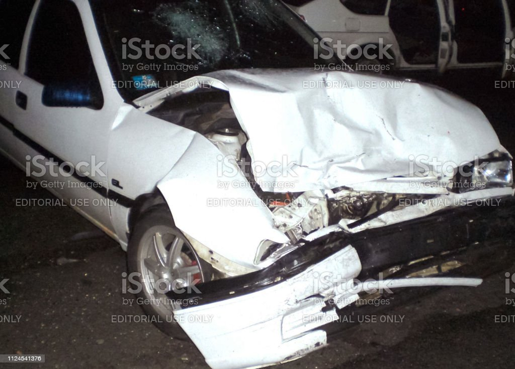 Accident on the street in Kharkov. Consequences of a car accident, a...
